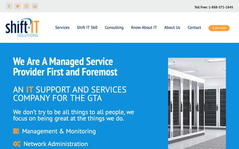 Screenshot of Home Page shift-it-solutions.com - Home - Shift IT - Toronto IT Support & Services - captured Oct. 20, 2018