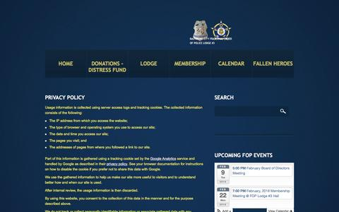 Screenshot of Privacy Page fop3.org - Privacy Policy  |  Baltimore Fraternal Order of Police Lodge 3 - captured Feb. 7, 2016