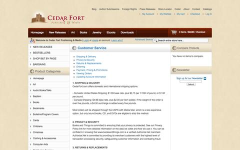 Screenshot of Support Page cedarfort.com - Customer Service - captured Sept. 22, 2014