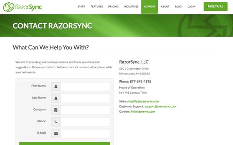 Contact Us - RazorSync Customer Support