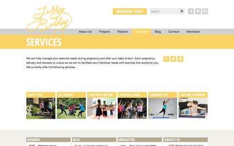 Screenshot of Services Page jellybellypt.com - Personal Training | NCT Groups | Outdoor Classes | Post-natal Restore | JellyBellyPT - captured June 8, 2017