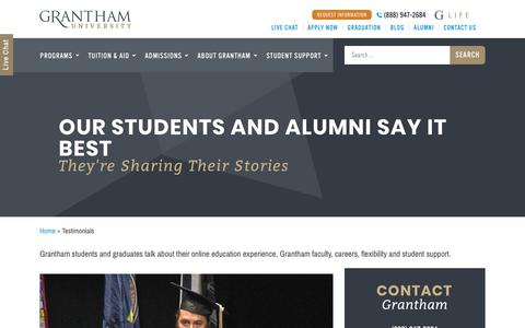 Screenshot of Testimonials Page grantham.edu - Grantham University Reviews and Student Testimonials | Grantham University - captured Nov. 8, 2018