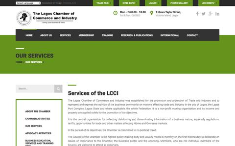 Screenshot of Services Page lagoschamber.com - Lagos Chamber of Commerce & Industry | Our Services - captured Feb. 3, 2018