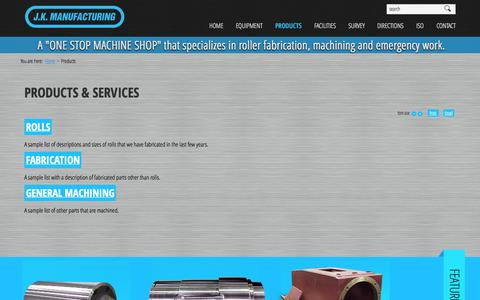 Screenshot of Products Page jkmfg.com - Products & Services - J.K. Manufacturing - captured Oct. 4, 2014