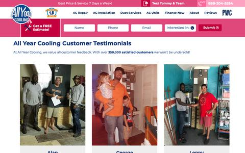 Screenshot of Testimonials Page allyearcooling.com - All Year Cooling Reviews & Testimonials - captured Oct. 3, 2018