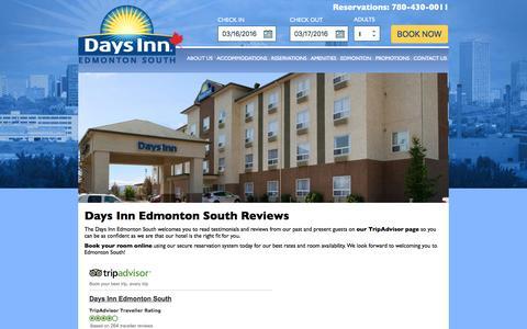 Screenshot of Testimonials Page daysinnedmontonsouth.ca - Hotel Reviews | Days Inn Edmonton South Hotel - captured March 16, 2016