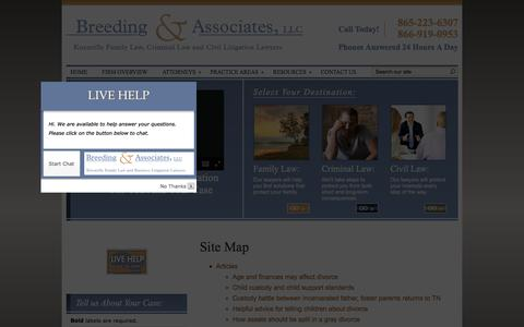 Screenshot of Site Map Page breedinglaw.com - Site Map | Breeding & Associates, LLC | Knoxville Tennessee - captured Feb. 8, 2016