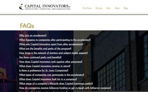 Screenshot of FAQ Page capitalinnovators.com - Capital Innovators | FAQ - captured Aug. 6, 2017