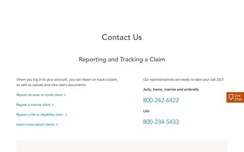Screenshot of Contact Page amica.com - Contact Us - captured Feb. 20, 2020