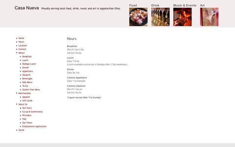 Screenshot of Hours Page casanueva.com - Hours | Casa Nueva - captured Sept. 30, 2014