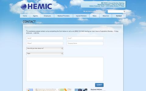 Screenshot of Contact Page hemic.com - HEMIC | Contact Us - captured Sept. 26, 2014