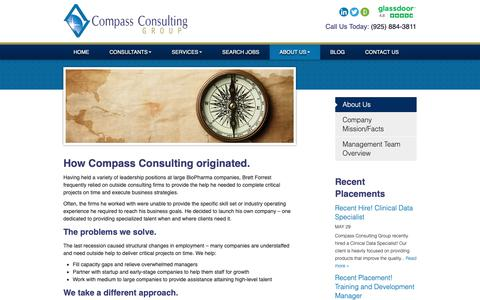 Screenshot of About Page compasscgroup.com - Compass Consulting - Biotechnology Contract Recruiter for San Francisco Biotech Companies - captured Sept. 29, 2018
