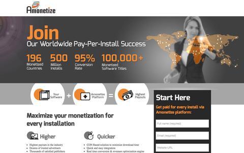 Screenshot of Landing Page amonetize.com - PPC - captured Oct. 27, 2014