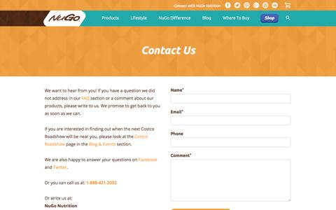 Screenshot of Contact Page nugonutrition.com - Nutrition Bars   Protein Bar   Healthy Snacks - NuGo Nutrition - captured Sept. 25, 2014