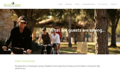 Screenshot of Testimonials Page getawayfitness.com - Fitness Getaway Guest Testimonials - GETAWAY FITNESS - captured July 18, 2018