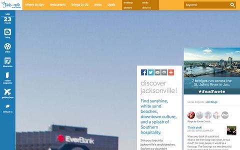 Screenshot of Home Page visitjacksonville.com - Visit Jacksonville: Official Travel Website for Jacksonville Florida - captured Sept. 23, 2014