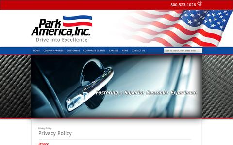 Screenshot of Privacy Page parkamerica.net - Privacy Policy | Park America, Inc. - captured Jan. 25, 2016
