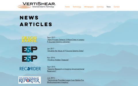 Screenshot of Press Page vertishear.com - VertiShear | News - captured Oct. 19, 2018