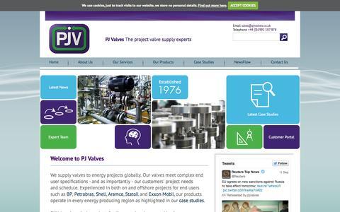 Screenshot of Home Page pjvalves.co.uk - PJ Valves Welcome - captured Sept. 26, 2014