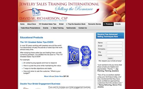 Screenshot of Products Page jewelrysalestraining.com - Educational Products | Jewelry Sales Training | - captured Oct. 6, 2014