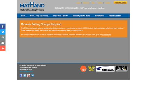 Screenshot of Login Page mathand.net - Dashboard - Mathand : Material Handling Systems - captured Sept. 20, 2018