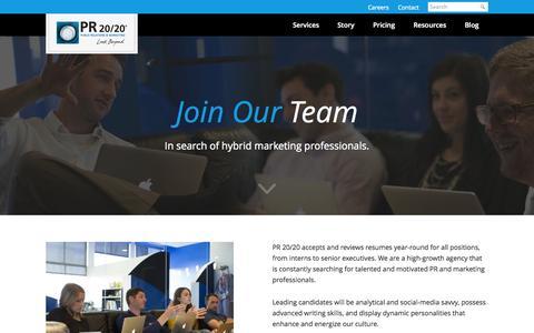 Screenshot of Jobs Page pr2020.com - Inbound Marketing Agency Careers   Cleveland   PR 20/20 - captured Sept. 19, 2014