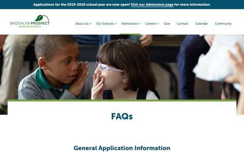 Screenshot of FAQ Page brooklynprospect.org - FAQ - Brooklyn Prospect Charter School - captured Oct. 6, 2018