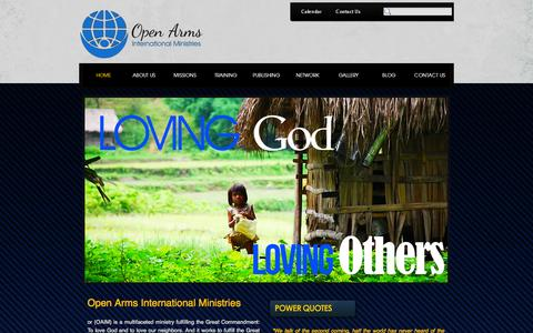 Screenshot of Home Page oaim.net - Open Arms International Ministries - captured Oct. 9, 2014