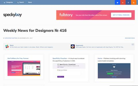 Screenshot of speckyboy.com - Weekly News for Designers № 416 - CSS Libraries, Specificity Visualizer, Design Principles, Bootstrap Admin - captured Dec. 26, 2017