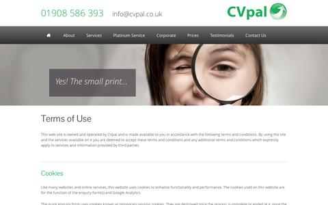 Screenshot of Terms Page cvpal.co.uk - CVpal Website Terms of Use - captured Sept. 26, 2014