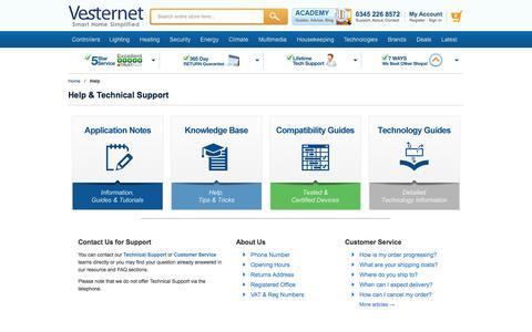 Screenshot of Support Page vesternet.com - Help   Vesternet - captured Dec. 4, 2016