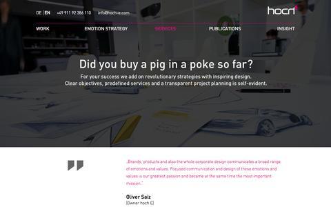 Screenshot of Services Page hoch-e.com - Services - Hoch E | Brand Design Emotion - captured Oct. 3, 2014
