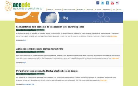 Screenshot of Blog accede.net - Post :Accede – Espacio de emprendimiento - captured Oct. 4, 2014