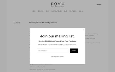 Screenshot of Jobs Page uomosf.com - Careers — Uomo San Francisco | Luxury European Menswear - captured Feb. 15, 2019