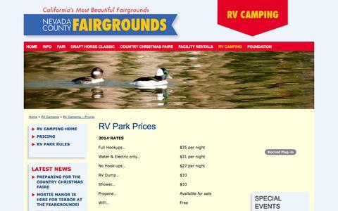 Screenshot of Pricing Page nevadacountyfair.com - RV Camping - Pricing - Nevada County Fairgrounds - Grass Valley, CA - captured Nov. 3, 2014