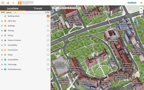 Screenshot of Maps & Directions Page utk.edu - The University of Tennessee - Knoxville - captured Sept. 21, 2018