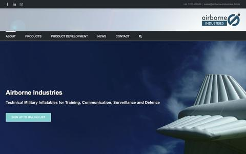 Screenshot of Home Page airborne-industries.ltd.uk - Airborne Industries | Home | Aerostats, Targets & Decoys and PTB's - captured Oct. 3, 2018