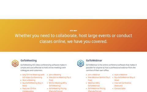 Screenshot of Site Map Page gotomeeting.com - Site Map | GoToMeeting | GoToWebinar | GoToTraining | OpenVoice - captured Dec. 5, 2016