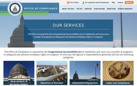 Screenshot of Services Page compliance.gov - Our Services | Office Of Compliance - captured Nov. 11, 2016