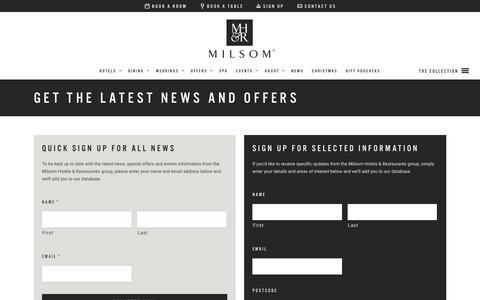 Screenshot of Signup Page milsomhotels.com - Get the Latest News and Offers • Milsom Hotels - captured Nov. 29, 2016