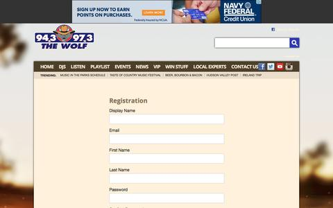 Screenshot of Signup Page hudsonvalleycountry.com - 94.3 & 97.3 The Wolf – The Best Country All Day – Poughkeepsie Country Music - captured June 11, 2016