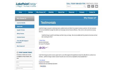 Screenshot of Testimonials Page lakepointenergy.com - Lakepoint Energy Testimonials - Lakepoint Energy - captured Oct. 1, 2014