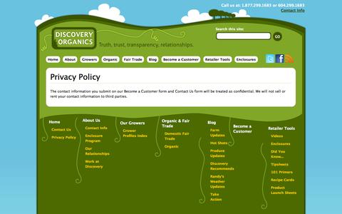 Screenshot of Privacy Page discoveryorganics.ca - Privacy Policy | Discovery Organics - captured Sept. 19, 2014