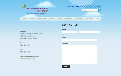 Screenshot of Contact Page cmoaklawn.org - Contact Us - Children's Museum in Oak Lawn - captured Jan. 27, 2016