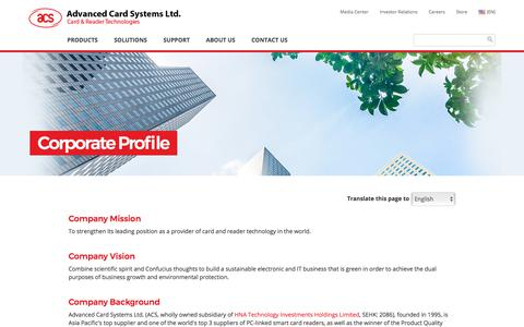 Screenshot of About Page acs.com.hk - Corporate Profile - Top PC-linked Smart Card Reader Supplier | ACS - captured Oct. 7, 2017