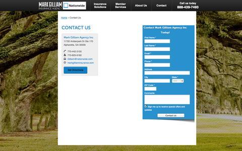 Screenshot of Contact Page markgilliaminsurance.com - Contact   Mark Gilliam Agency Inc of Alpharetta Georgia - captured Oct. 27, 2014