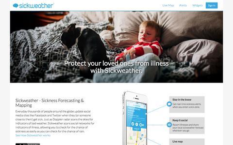 Screenshot of Home Page sickweather.com - Sickweather - captured Sept. 13, 2014