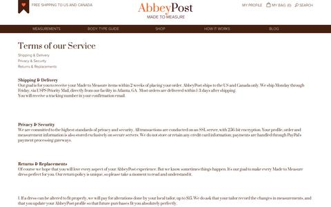 Screenshot of Terms Page abbeypost.com - Terms & Conditions | AbbeyPost - Custom Dresses, Tops, Skirts and Pants for Plus Size, Petites, Tall Women - captured Sept. 10, 2014