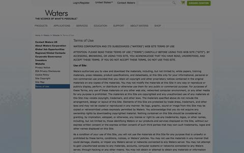 Screenshot of Terms Page waters.com - Terms of Use : Waters - captured Sept. 5, 2019