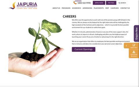 Screenshot of Jobs Page jaipuria.ac.in - Careers | Jaipuria Insitute of management - captured Sept. 22, 2018